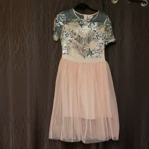 Peach Embroidered Formal A-Line Dress